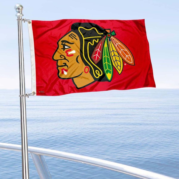 "Our Chicago Blackhawks Red Boat and Nautical Flag is 12""x18"", made of three-ply poly, has a solid header with two metal grommets, and is double sided. This Red Boat and Nautical Flag for Chicago Blackhawks is Officially Licensed by the NHL and can also be used as a motorcycle flag, boat flag, golf cart flag, or recreational flag."