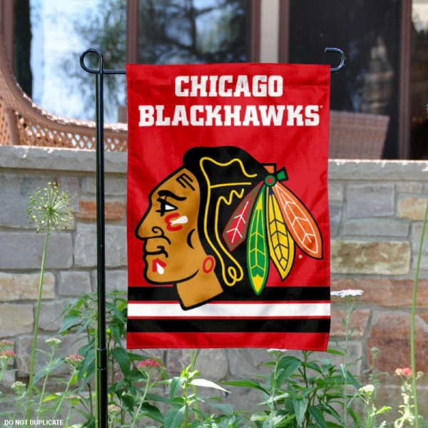Chicago Blackhawks Red Garden Flag is 12.5x18 inches in size, is made of 2-ply polyester, and has two sided screen printed logos and lettering. Available with Express Next Day Ship, our Chicago Blackhawks Red Garden Flag is NHL Officially Licensed and is double sided.