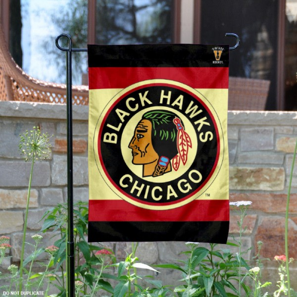 Chicago Blackhawks Retro Logo Garden Flag is 12.5x18 inches in size, is made of 2-ply polyester, and has two sided screen printed logos and lettering. Available with Express Next Day Ship, our Chicago Blackhawks Retro Logo Garden Flag is NHL Officially Licensed and is double sided.