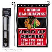 Chicago Blackhawks Stanley Cup Champions Garden Banner and Flagpole Holder Stand