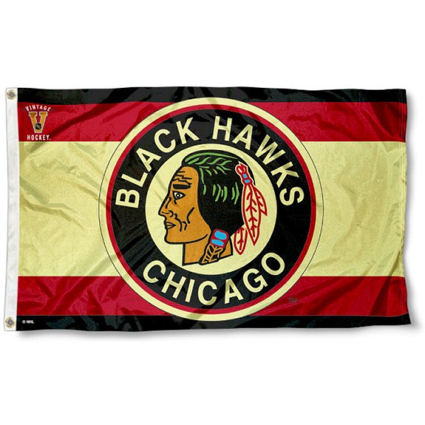 The Chicago Blackhawks Vintage Logo Flag is four-stitched bordered, double sided, made of poly, 3'x5', and has two grommets. These Chicago Blackhawks Vintage Logo Flags are NHL Genuine Merchandise.