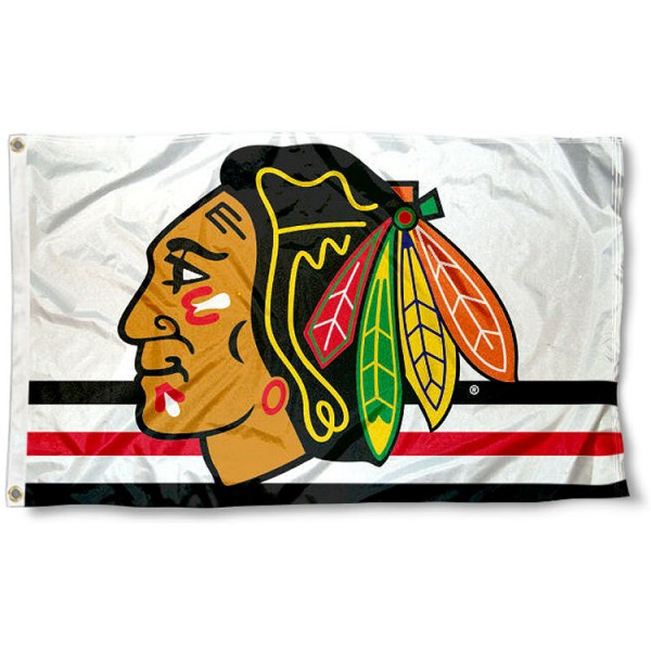 The Chicago Blackhawks White Jersey Flag is four-stitched bordered, double sided, made of poly, 3'x5', and has two grommets. These Chicago Blackhawks White Jersey Flags are NHL Genuine Merchandise.