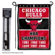 Chicago Bulls 6 Time Champions Garden Flag and Flag Pole Stand