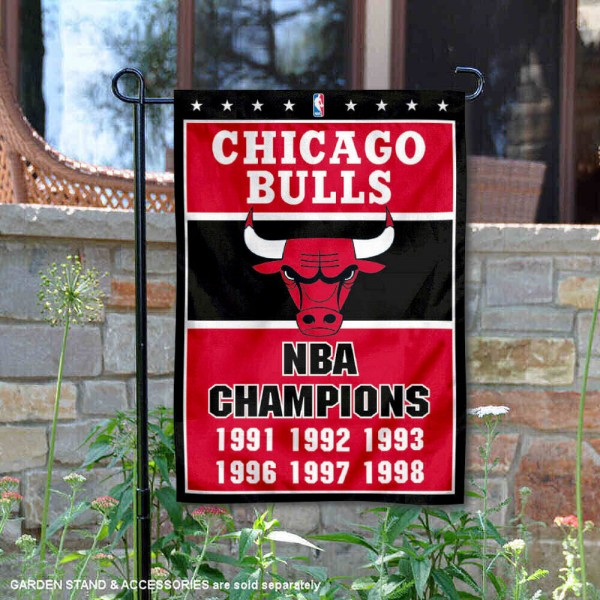 Chicago Bulls 6 Time NBA Champions Garden Flag is 12.5x18 inches in size, is made of 2-ply polyester, and has two sided screen printed logos and lettering. Available with Express Next Day Shipping, our Chicago Bulls 6 Time NBA Champions Garden Flag is NBA Genuine Merchandise and is double sided.