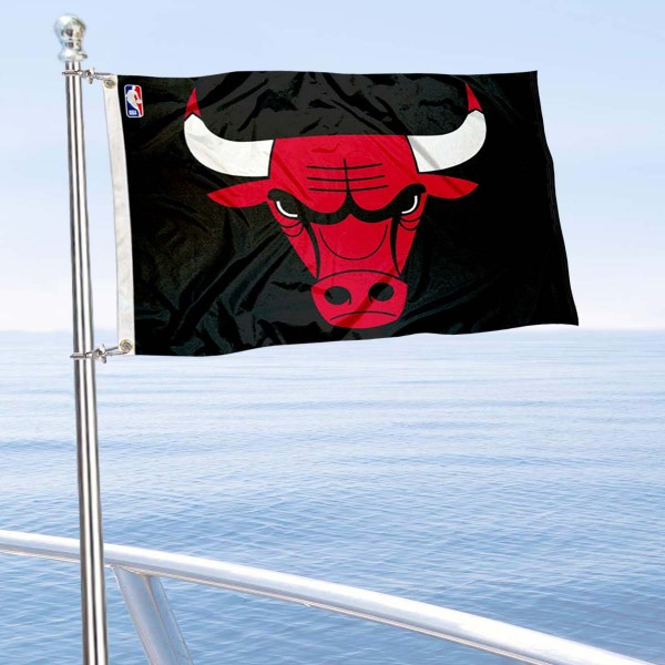 "Our Chicago Bulls Boat and Nautical Flag is 12""x18"", made of three-ply poly, has a solid header with two metal grommets, and is double sided. This Boat and Nautical Flag for Chicago Bulls is Officially Licensed by the NBA and can also be used as a motorcycle flag, boat flag, golf cart flag, or recreational flag."