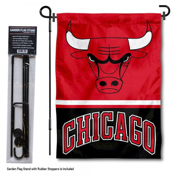 """Chicago Bulls Garden Flag and Flagpole Stand kit includes our 12.5""""x18"""" garden banner which is made of 2 ply poly with liner and has screen printed licensed logos. Also, a 40""""x17"""" inch garden flag stand is included so your Chicago Bulls Garden Flag and Flagpole Stand is ready to be displayed with no tools needed for setup. Fast Overnight Shipping is offered and the flag is Officially Licensed and Approved by the selected team."""