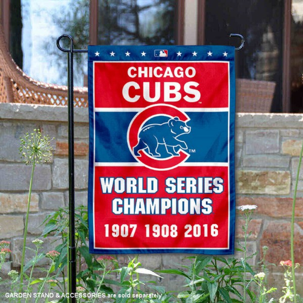 Chicago Cubs 3-Time World Series Champions Garden Flag is 12.5x18 inches in size, is made of 2-ply polyester, and has two sided screen printed logos and lettering. Available with Express Next Day Shipping, our Chicago Cubs 3-Time World Series Champions Garden Flag is MLB Genuine Merchandise and is double sided.