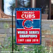 Chicago Cubs 3-Time World Series Champions Garden Flag