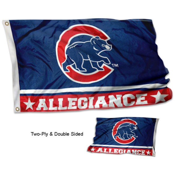 Chicago Cubs Allegiance Flag measures 3'x5', is made of 2-ply double sided polyester with liner, has quadruple stitched sewing, two metal grommets, and has two sided team logos. Our Chicago Cubs Allegiance Flag is officially licensed by the selected team and the MLB and is available with overnight express shipping.