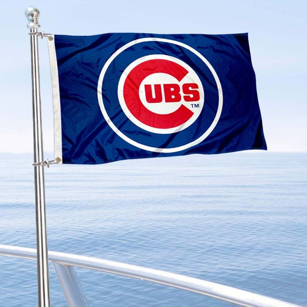 "Our Chicago Cubs Boat and Nautical Flag is 12""x18"", made of three-ply poly, has a solid header with two metal grommets, and is double sided. This Boat and Nautical Flag for Chicago Cubs is Officially Licensed by the MLB and can also be used as a motorcycle flag, boat flag, golf cart flag, or recreational flag."