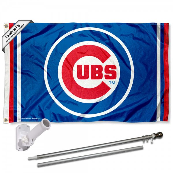 Our Chicago Cubs Circle Logo Flag Pole and Bracket Kit includes the flag as shown and the recommended flagpole and flag bracket. The flag is made of polyester, has quad-stitched flyends, and the MLB Licensed team logos are double sided screen printed. The flagpole and bracket are made of rust proof aluminum and includes all hardware so this kit is ready to install and fly.