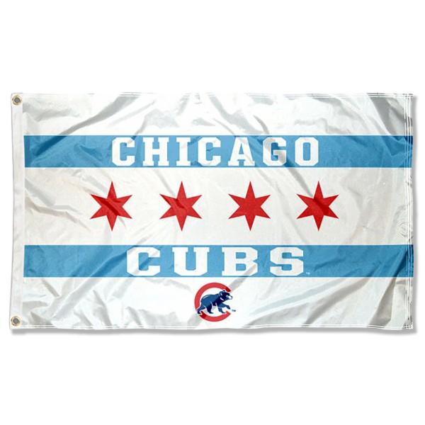 Chicago Cubs City of Chicago Flag measures 3x5 feet, is made of polyester, offers quad-stitched flyends, has two metal grommets, and is viewable from both sides with a reverse image on the opposite side. Our Flag is Genuine MLB Merchandise.