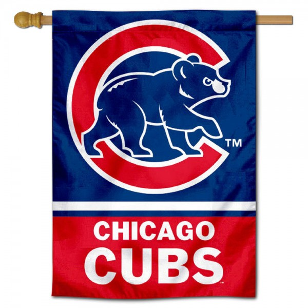 Chicago Cubs Double Sided House Flag is screen printed with Chicago Cubs logos, is made of 2-ply 100% polyester, and is two sided and double sided. Our banners measure 28x40 inches and hang vertically with a top pole sleeve to insert your banner pole or flagpole.
