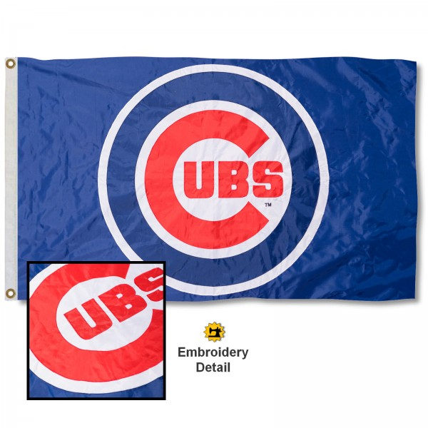 This Chicago Cubs Embroidered Nylon Flag is double sided, made of nylon, 3'x5', has two metal grommets, indoor or outdoor, and four-stitched fly ends. These Chicago Cubs Embroidered Nylon Flags are Officially Approved the Chicago Cubs and MLB.