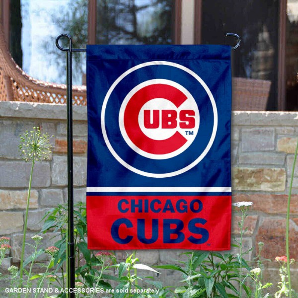 Chicago Cubs Garden Flag is 12.5x18 inches in size, is made of 2-ply polyester, and has two sided screen printed logos and lettering. Available with Express Next Day Shipping, our Chicago Cubs Garden Flag is MLB Genuine Merchandise and is double sided.