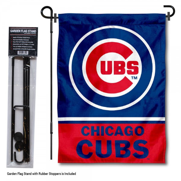 "Chicago Cubs Logo Garden Flag and Stand kit includes our 13""x18"" garden banner which is made of 2 ply poly with liner and has screen printed licensed logos. Also, a 40""x17"" inch garden flag stand is included so your Chicago Cubs Logo Garden Flag and Stand is ready to be displayed with no tools needed for setup. Fast Overnight Shipping is offered and the flag is Officially Licensed and Approved by the selected team."