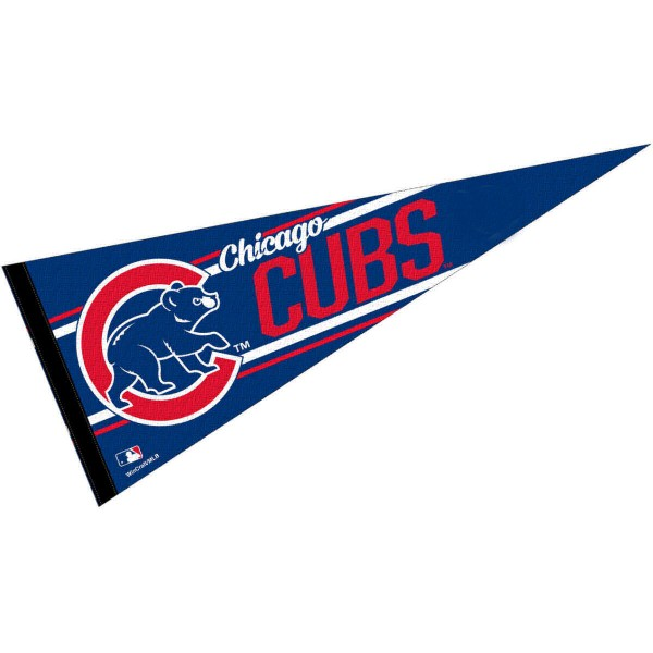 This Chicago Cubs Pennant measures 12x30 inches, is constructed of felt, and is single sided screen printed with the Chicago Cubs logo and insignia. Each Chicago Cubs Pennant is a MLB Genuine Merchandise product.