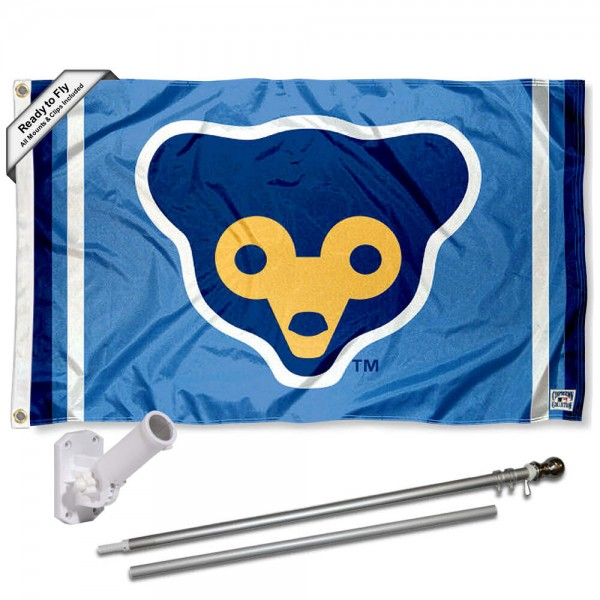 Our Chicago Cubs Vintage 70s Flag Pole and Bracket Kit includes the flag as shown and the recommended flagpole and flag bracket. The flag is made of polyester, has quad-stitched flyends, and the MLB Licensed team logos are double sided screen printed. The flagpole and bracket are made of rust proof aluminum and includes all hardware so this kit is ready to install and fly.