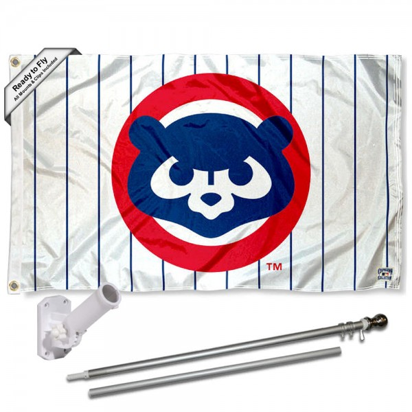 Our Chicago Cubs Vintage 80s Flag Pole and Bracket Kit includes the flag as shown and the recommended flagpole and flag bracket. The flag is made of polyester, has quad-stitched flyends, and the MLB Licensed team logos are double sided screen printed. The flagpole and bracket are made of rust proof aluminum and includes all hardware so this kit is ready to install and fly.