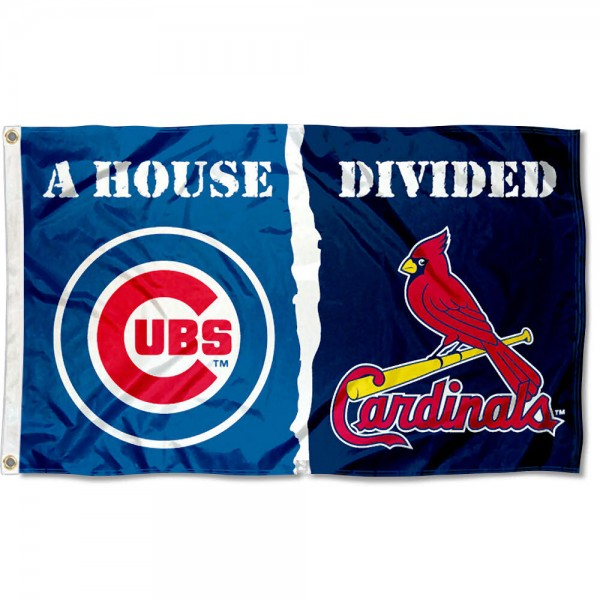 Chicago Cubs vs. St. Louis Cardinals Divided Flag sizes at 3x5 feet, is made of 100% polyester, has quadruple-stitched fly ends, and the Baseball Team logos are screen printed into the Chicago Cubs vs. St. Louis Cardinals Divided Flag. The Chicago Cubs vs. St. Louis Cardinals Divided Flag is approved by MLB and the selected MLB Teams.