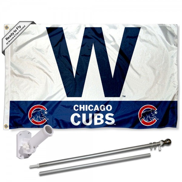 "Our Chicago Cubs ""W"" Flag Pole and Bracket Kit includes the flag as shown and the recommended flagpole and flag bracket. The flag is made of polyester, has quad-stitched flyends, and the MLB Licensed team logos are double sided screen printed. The flagpole and bracket are made of rust proof aluminum and includes all hardware so this kit is ready to install and fly."