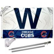 Chicago Cubs 'W' Flag Pole and Bracket Kit