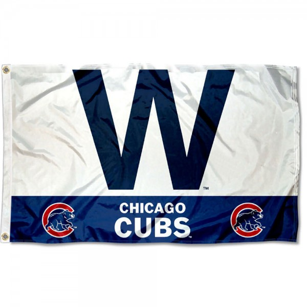 Chicago Cubs W Logo Flag is made of 100% polyester, measures 3x5 feet, quad stitched, has two metal grommets, and is viewable from both sides with the opposite side being a reverse image. This Chicago Cubs W Logo Flag is MLB Genuine Merchandise