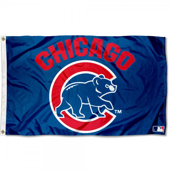 Chicago Cubs Walking Bear Flag is made of 100% polyester, measures 3x5 feet, quad stitched, has two metal grommets, and is viewable from both sides with the opposite side being a reverse image. This Chicago Cubs Walking Bear Flag is MLB Genuine Merchandise
