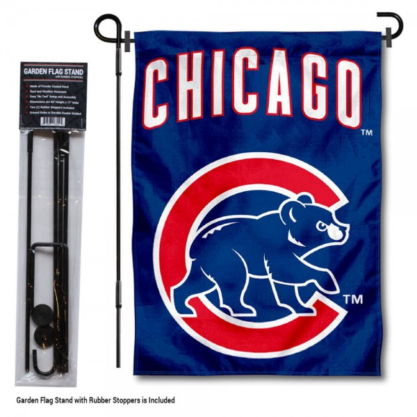 "Chicago Cubs Walking Bear Logo Garden Flag and Stand kit includes our 13""x18"" garden banner which is made of 2 ply poly with liner and has screen printed licensed logos. Also, a 40""x17"" inch garden flag stand is included so your Chicago Cubs Walking Bear Logo Garden Flag and Stand is ready to be displayed with no tools needed for setup. Fast Overnight Shipping is offered and the flag is Officially Licensed and Approved by the selected team."