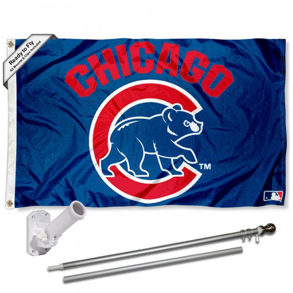 Our Chicago Cubs Walking Cub Flag Pole and Bracket Kit includes the flag as shown and the recommended flagpole and flag bracket. The flag is made of polyester, has quad-stitched flyends, and the MLB Licensed team logos are double sided screen printed. The flagpole and bracket are made of rust proof aluminum and includes all hardware so this kit is ready to install and fly.