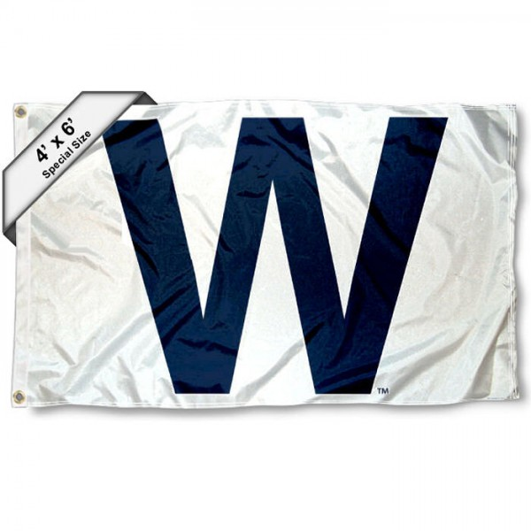 Chicago Cubs Wrigley Field W 4x6 Flag measures a large 4x6 feet, is made polyester, has quadruple stitched flyends, two metal grommets, and offers screen printed MLB Chicago Cubs logos and insignias. Our Chicago Cubs 4x6 Foot Flag is MLB Officially Licensed and Chicago Cubs approved.