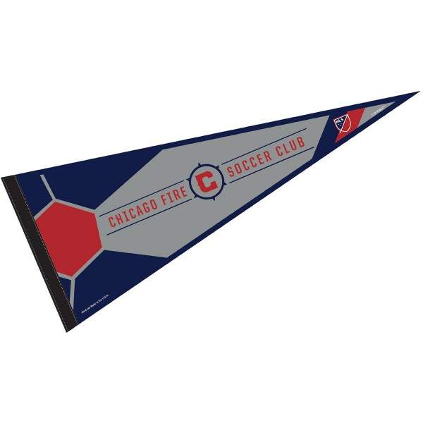 Chicago Fire Pennant is our Full Size MLS soccer team pennant which measures 12x30 inches, is made of felt, and is single sided screen printed. Our Chicago Fire Pennant is perfect for showing your MLS team allegiance in any room of the house and is MLS licensed.
