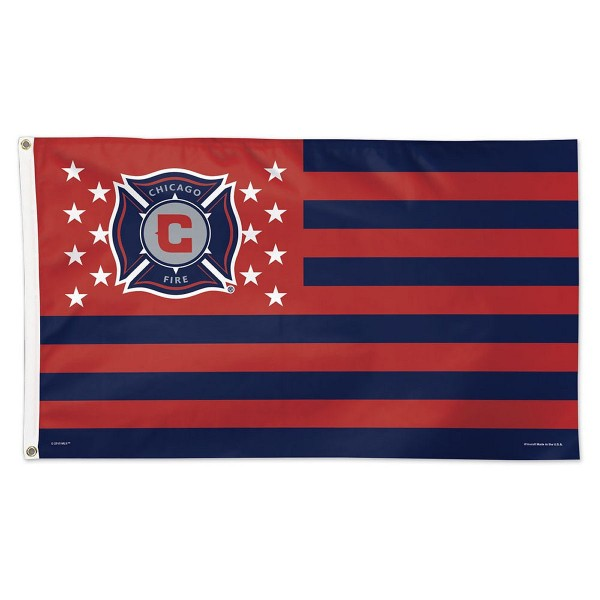 Chicago Fire Stars and Stripes MLS Flag is screen printed, made of one-ply polyester, quad stitched flyends, and measures 3x5 feet. Our Chicago Fire Stars and Stripes MLS Flag is approved by MLS.