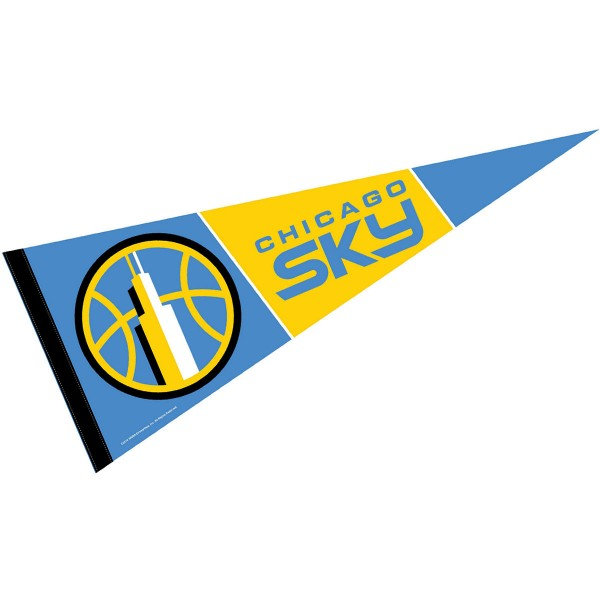 Chicago Sky Pennant is our WNBA team pennant which measures 12x30 inches, is made of soft wool and felt blends, has a pennant sleeve, and is single sided screen printed. Our Chicago Sky Pennant is perfect for showing your WNBA team allegiance in any room of the house and is WNBA officially licensed