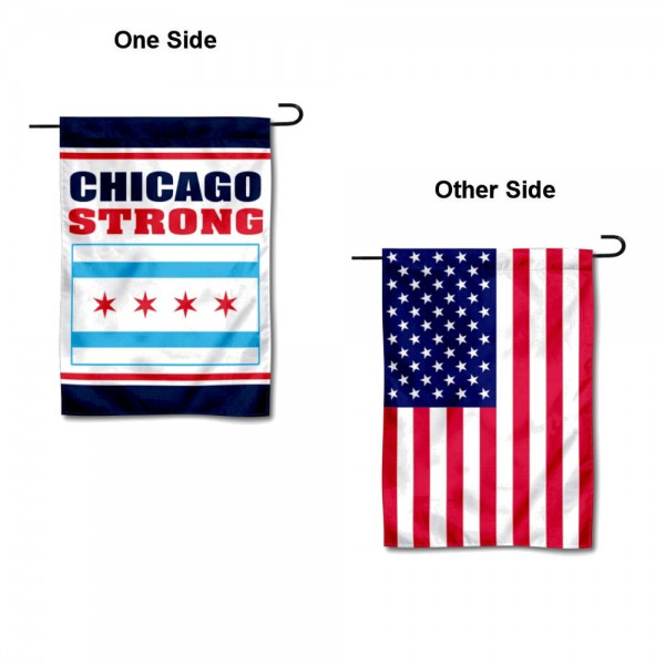 Chicago Strong USA Garden Flag is 13x18 inches in size, is made of 1-layer 300d polyester, screen printed logos and lettering, and is viewable on both sides. Available same day shipping, our Chicago Strong USA Garden Flag is a great addition to your decorative garden flag selections.