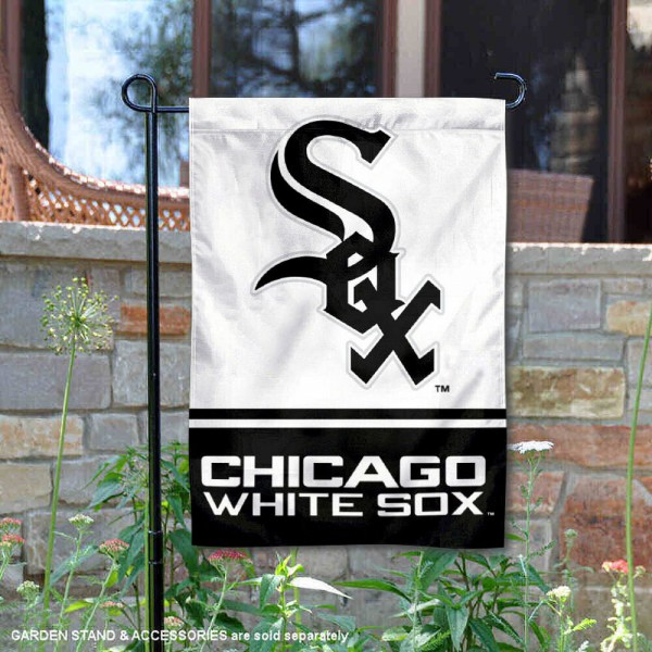 Chicago White Sox Garden Flag is 12.5x18 inches in size, is made of 2-ply polyester, and has two sided screen printed logos and lettering. Available with Express Next Day Shipping, our Chicago White Sox Garden Flag is MLB Genuine Merchandise and is double sided.