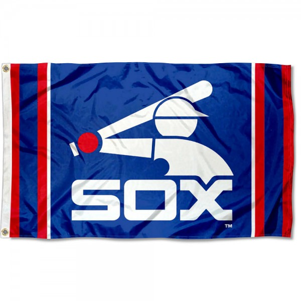 Our Chicago White Sox Retro Logo Flag is double sided, made of poly, 3'x5', has two grommets, and four-stitched fly ends. These Chicago White Sox Retro Logo Flags are Officially Licensed by the MLB.