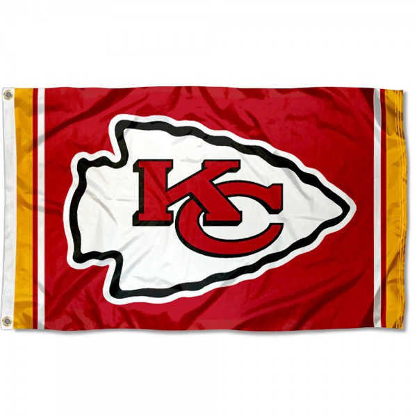 Our Chiefs Logo Flag is double sided, made of poly, 3'x5', has two grommets, and four-stitched fly ends. These Chiefs Logo Flags are Officially Licensed by the NFL.