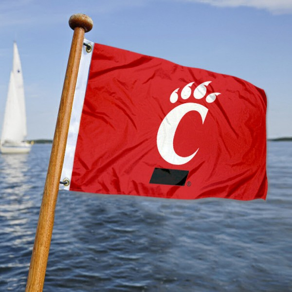 Cincinnati Bearcat Yacht Flag measures 12x18 inches, is made of two-ply polyesters, offers quadruple stitched flyends for durability, has two metal grommets, and is viewable from both sides. Our Cincinnati Bearcat Yacht Flag is officially licensed by the selected university and the NCAA and can be used as a motorcycle flag, golf cart flag, or ATV flag.