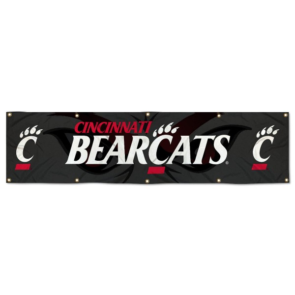 Cincinnati Bearcats 8 Foot Large Banner measures 2x8 feet and displays Cincinnati Bearcats logos. Our Cincinnati Bearcats 8 Foot Large Banner is made of thick polyester and ten grommets around the perimeter for hanging securely. These banners for Cincinnati Bearcats are officially licensed by the NCAA.
