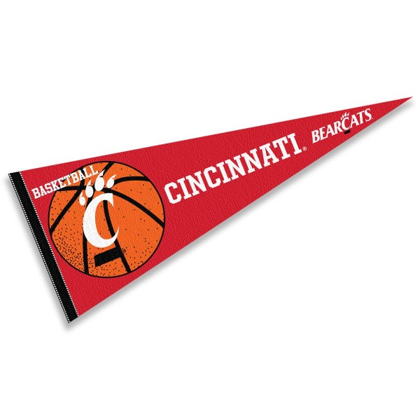 Cincinnati Bearcats Basketball Pennant consists of our full size sports pennant which measures 12x30 inches, is constructed of felt, is single sided imprinted, and offers a pennant sleeve for insertion of a pennant stick, if desired. This Cincinnati Bearcats Pennant Decorations is Officially Licensed by the selected university and the NCAA.