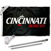 Cincinnati Bearcats Black Flag Pole and Bracket Kit
