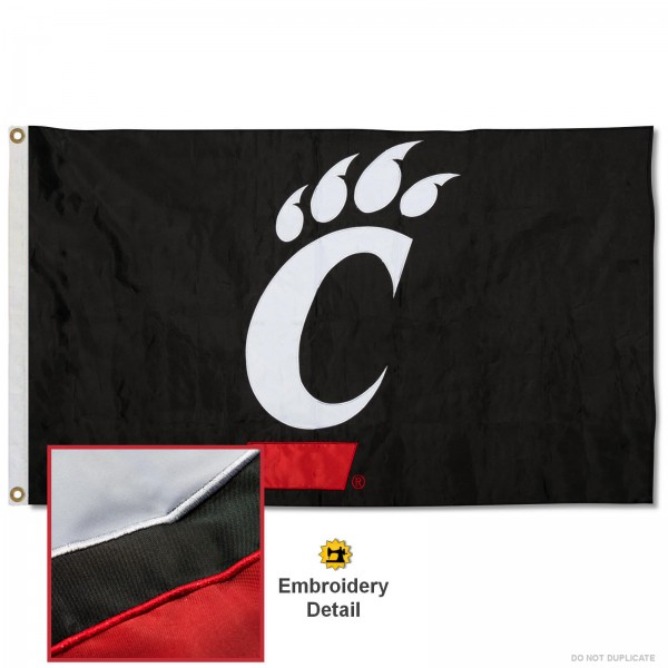 Cincinnati Bearcats Black Nylon Embroidered Flag measures 3'x5', is made of 100% nylon, has quadruple flyends, two metal grommets, and has double sided appliqued and embroidered University logos. These Cincinnati Bearcats Black 3x5 Flags are officially licensed by the selected university and the NCAA.