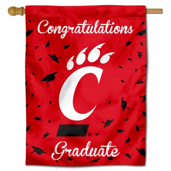 Cincinnati Bearcats Congratulations Graduate Flag measures 30x40 inches, is made of poly, has a top hanging sleeve, and offers dye sublimated Cincinnati Bearcats logos. This Decorative Cincinnati Bearcats Congratulations Graduate House Flag is officially licensed by the NCAA.