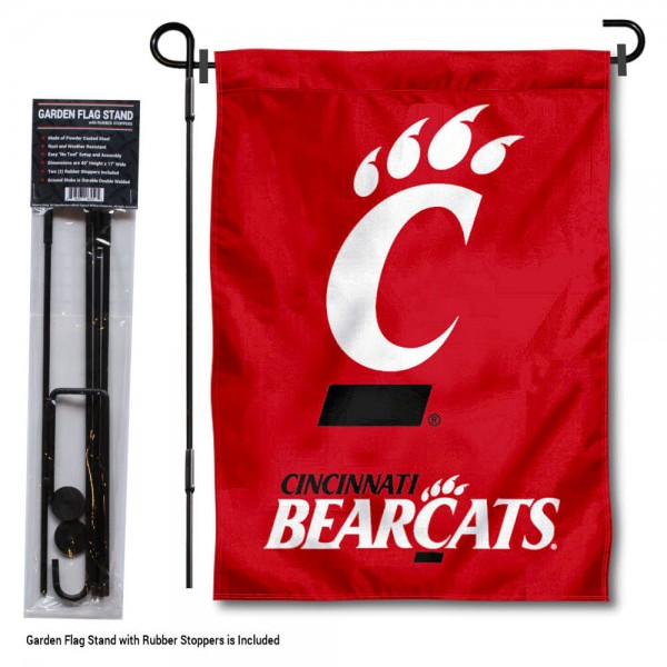 "Cincinnati Bearcats Red Garden Flag and Pole Stand kit includes our 13""x18"" garden banner which is made of 2 ply poly with liner and has screen printed licensed logos. Also, a 40""x17"" inch garden flag stand is included so your Cincinnati Bearcats Red Garden Flag and Pole Stand is ready to be displayed with no tools needed for setup. Fast Overnight Shipping is offered and the flag is Officially Licensed and Approved by the selected team."