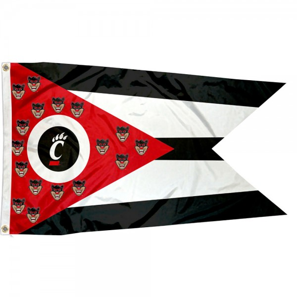 Cincinnati Bearcats State of Ohio Flag measures 3x5 feet, is made of 100% polyester, offers quadruple stitched flyends, has two metal grommets, and offers screen printed NCAA team logos and insignias. Our Cincinnati Bearcats State of Ohio Flag is officially licensed by the selected university and NCAA.