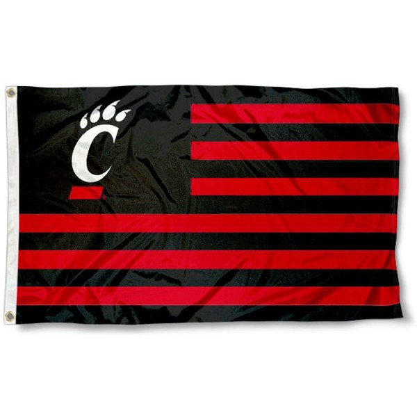 Cincinnati Bearcats Stripes Flag measures 3'x5', is made of polyester, offers double stitched flyends for durability, has two metal grommets, and is viewable from both sides with a reverse image on the opposite side. Our Cincinnati Bearcats Stripes Flag is officially licensed by the selected school university and the NCAA.