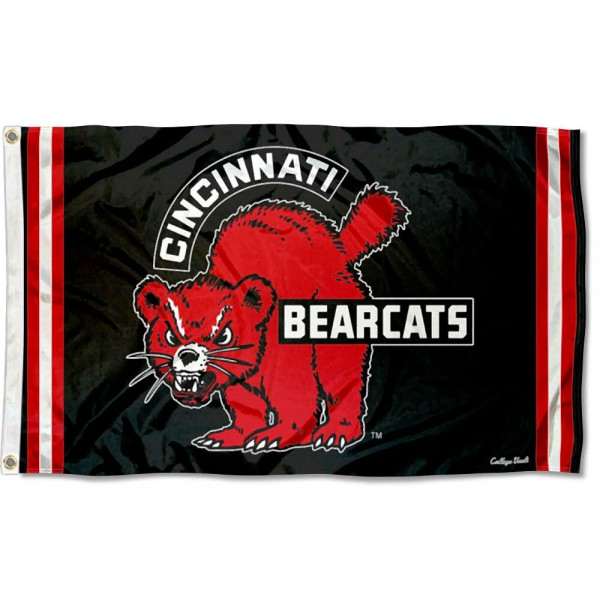 Cincinnati Bearcats Throwback Vault Logo Flag measures 3x5 feet, is made of 100% polyester, offers quadruple stitched flyends, has two metal grommets, and offers screen printed NCAA team logos and insignias. Our Cincinnati Bearcats Throwback Vault Logo Flag is officially licensed by the selected university and NCAA.