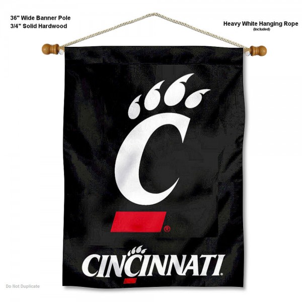"Cincinnati Bearcats Wall Banner is constructed of polyester material, measures a large 30""x40"", offers screen printed athletic logos, and includes a sturdy 3/4"" diameter and 36"" wide banner pole and hanging cord. Our Cincinnati Bearcats Wall Banner is Officially Licensed by the selected college and NCAA."