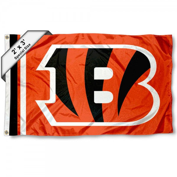 Cincinnati Bengals 2x3 Feet Flag measures 2'x3', is made polyester, has quadruple stitched flyends, two metal grommets, and offers screen printed NFL Cincinnati Bengals logos and insignias. Our Cincinnati Bengals 2x3 Foot Flag is NFL Officially Licensed and approved.